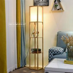 LED Floor Lamp Storage Shelf Standing Wood Light Adjustable