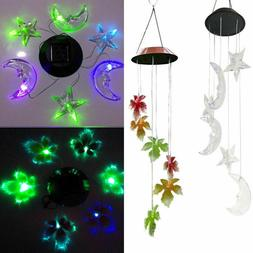 LED Solar Color Changing Wind Chimes Fr Yard Garden Home Win