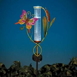 LED SOLAR LIGHTED BUTTERFLY RAIN GAUGE YARD STAKE - OUTDOOR
