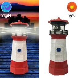 LED Solar Powered for Lighthouse Statue Rotating Garden Yard