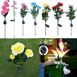 LED Solar Powered Rose Flower Stake Light Garden Yard Lawn W