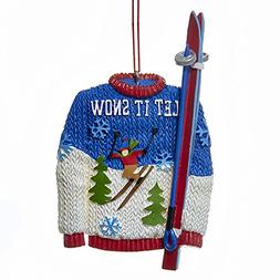 Kurt Adler Let It Snow Sweater And Skis Resin Christmas Orna