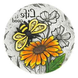 Life is Good Sunflower and Bee Cement Garden Stepping Stone