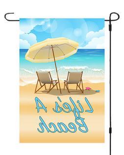 Lifes A Beach Garden Banner Flag Yard Decor Ocean Sand Waves