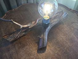 Light Up your Cabin or Lodge, Rustic Wood Table Lamp, Wood F