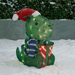 "Holiday Time Light-up Outdoor Dinosaur Decoration 22"" Christ"