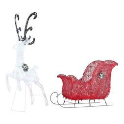 Holiday Time Light-up Twinkling LED Reindeer and Sleigh Deco