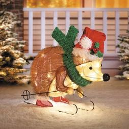 Lighted 3D Skiing Hedgehog in Santa Hat and Scarf Sculpture