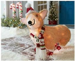 Lighted Corgi Santa Dog Holiday Living Indoor Outdoor Yard D