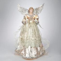 """16"""" Lighted Gold and Platinum Angel Christmas Tree Topper -"""