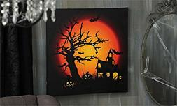 LED Lighted Haunted House Design Canvas Wall Decor