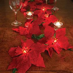 Lighted Poinsettia Garland