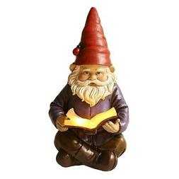 Lighted Reading Gnome - Solar LED Light Garden Statue Lawn O