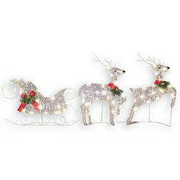Collections Etc Lighted Reindeer & Christmas Sleigh Set