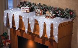 Collections Etc Lighted Snow and Icicle Holiday Mantel Scarf