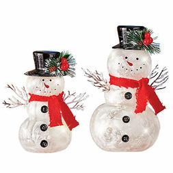 Lighted Sparkling Holiday Snowmen - Set of 2