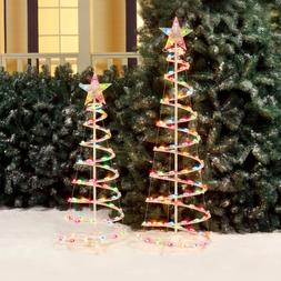 Holiday Time 3' and 4' Lighted Spiral Christmas Tree Sculptu