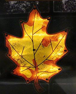 """16"""" Lighted Thanksgiving Maple Leaf Window Silhouette Decora"""