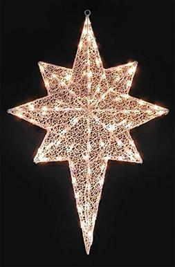 hm Lighted White Glittering Mesh 2-D Star of Bethlehem Chris