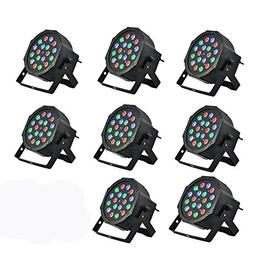8 Piece Up-Lighting - Full RGB Color Mixing LED Flat Par Can