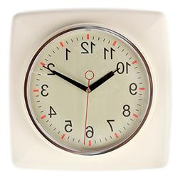 Lily's Home Square Retro Kitchen Wall Clock, Large Dial Qu