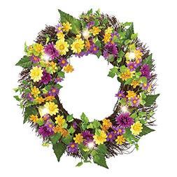 "Pre-Lit Daisies In Bloom Colorful 18"" Wreath"