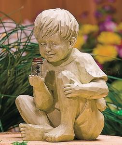 Little Boy W/ Firefly In Jar Solar Statue Lawn Yard Garden O