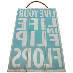 Live Your Life in Flip Flops Vintage Wood Sign For Beach Hou