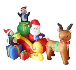 6 Foot Long Christmas Inflatable Santa on Sleigh with Reinde