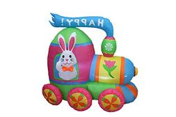 4 Foot Long Easter Inflatable Party Bunny with Bow Tie Ride
