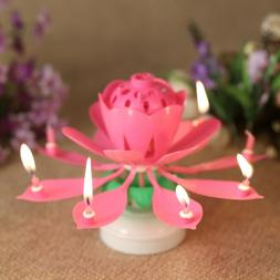Lotus Candle Birthday Flower Musical Floral Cake Candles /w