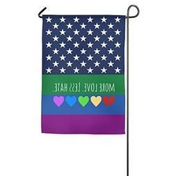 MORE LOVE LESS HATE Rainbow Peace Sign Garden Decorative Fla