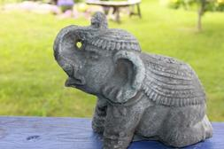 Lucky Elephant Garden Statue Cast Volcanic Lava Stone Bali Y