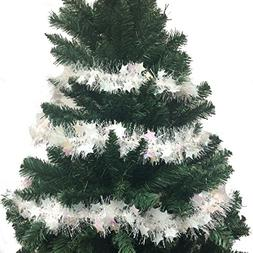 103 Inch Luxury Tinsel Christmas Garland - White/Star