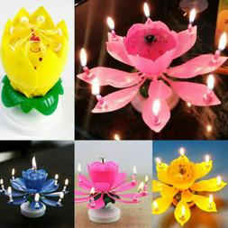 Magical Happy Birthday Blossom Lotus Musical Candle Flower P