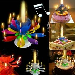 Magical Romantic Happy Birthday Blossom Lotus Musical Candle