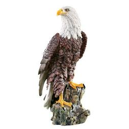 Magnificent Bald Eagle On Stump Garden Statue, by Collection