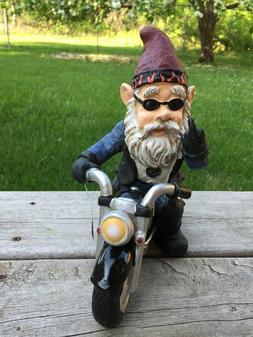 Male Biker Gnome Hand Gesture Sitting on Bike Figurine Statu