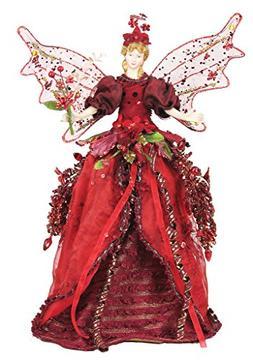 "16"" Beautiful Tree Topper Mantel Cone Angel Burgundy - A3168"