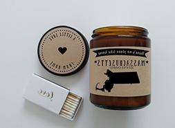 Massachusetts Scented Candle Missing Home Homesick Gift Movi