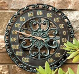 """14"""" Medallion Outdoor Thermometer Wall Hanging Outside Patio"""