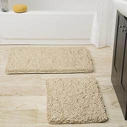 Lavish Home 2 Piece Memory Foam Shag Bath Mat - Ivory