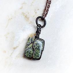 Men's Gemstone Pendant Necklace - Green Rhyolite / Rainfores