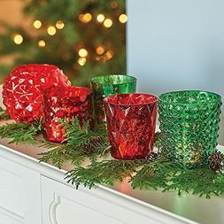 5pc Mercury Glass Red/Green Votive Candle Holders Christmas