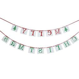 Merry Christmas Banner Sign Bunting Vintage Garland party De