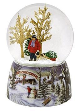 Merry Christmas Snowy Woodland Scene Music Snow Globe Glitte