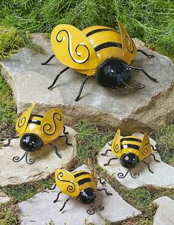 Metal Bumble Bee Garden Insect Sculpture Outdoor Yard Art Wa