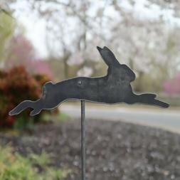 Metal Bunny Garden Stake - Steel Gardening Decor - Rabbit Ya