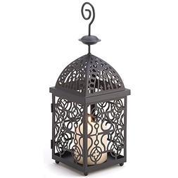 Candle Lantern Holder Stand Metal Antique Free Standing Bird