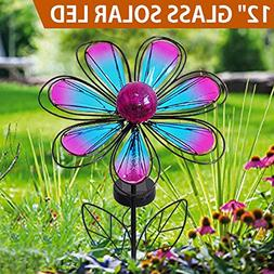 "BRIGHT ZEAL 12"" Large METAL & GLASS Solar Flowers Yard Art -"
